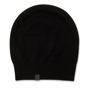 eyefoot beanie - 100% cashmere black with shiny charcoal grey brand signature logo