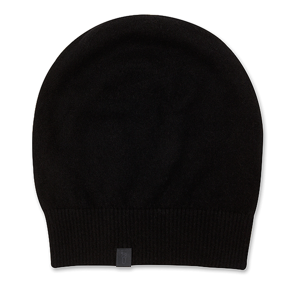 eyefoot beanie - 100% cashmere black with shiny charcoal grey brand signature logo