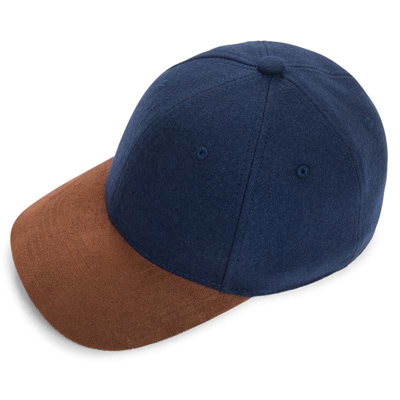 eyefoot luxury branded cap- navy blue 60% wool and premium suede