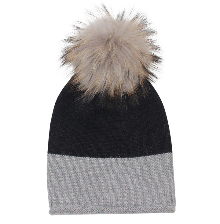 EYEFOOT Grey & Black PP Beanie with real raccoon pom pom fur