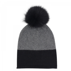 EYEFOOT black & grey PP Beanie with real raccoon fur