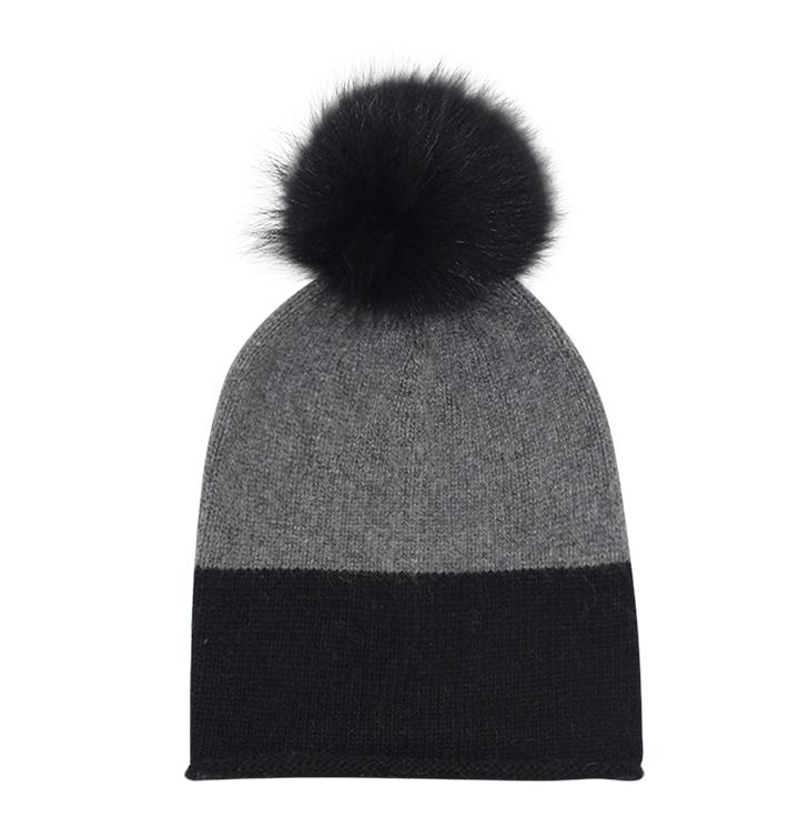 EYEFOOT black & grey PP Beanie with real raccoon fur