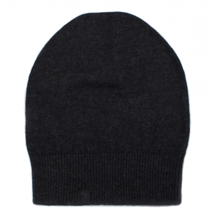 Eyefoot Classic Beanie - 100% Cashmere - Charcoal grey signature branded