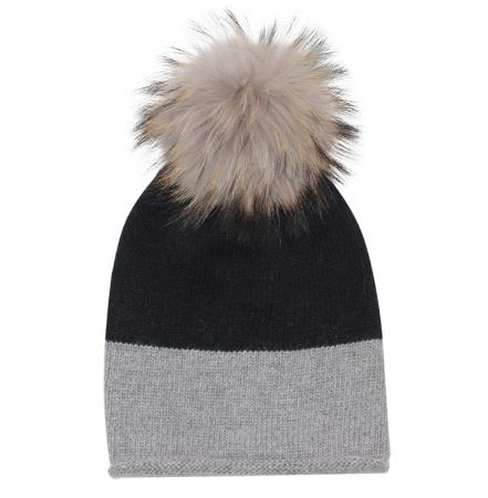 EYEFOOT Grey & Black PP Beanie with real raccoon pom pom fur