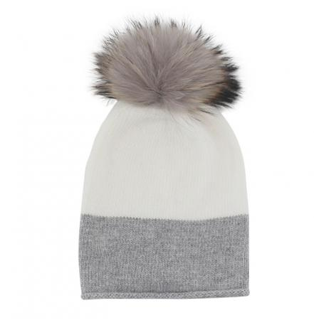 EYEFOOT Grey and Cream PP Beanie with real raccoon pom pom fur